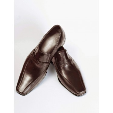 Vegan Slip-On Dress Shoes P11-45172-BROWN-V