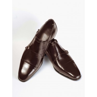 Cap-Toe Double Monk Strap Shoes P12-40177-BROWN-V