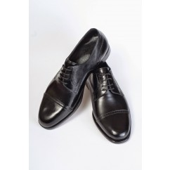 Vegan Cap Toe Brogue Derby Shoes P19-4712-BLACK-V