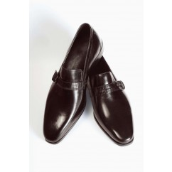 Vegan Monk Strap Shoes P1-40177-BROWN