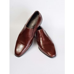 Vegan Cap-Toe Slip-on Dress Shoes P10-40179-BROWN-V