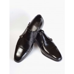 Cap-Toe Double Monk Strap Shoes P12-40177-BLACK-V