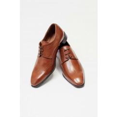 Vegan Wing-Tip Dress Shoes P23-40716-BROWN-V